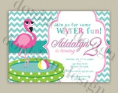 Chevron Flamingo Birthday Invitation- Swim or Water Party - Printable