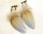 Blue Clip on Earrings, Feather Clip Earrings, Periwinkle Gold Dangle Clip on Boho Jewelry