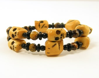 Skull Bracelet Black Tan Brown Tigers Eye Gemstone Beaded Bangle Stackable Stacking Memory Wire Jewelry