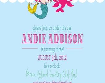 Mermaid Birthday Invitation - Under the Sea-PRINTABLE