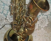 "REDUCED Vintage Conn Stencil M. J. Kalashen ""The Yankee""  Brass Alto Sax  SaxophoneTable lamp 110v  For That Music Lover  No. 817"
