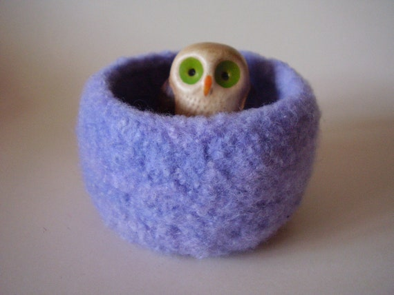 wee felted bowl ring holder  Periwinkle