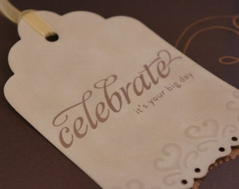 Wedding Gift Tags - Vintage Style - Heart Embossed  (Set of 5)