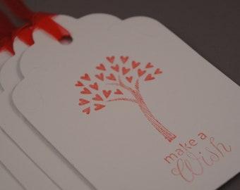 Wedding Wish Tree Tags-Swirl Hand Embossed Detail-Set of Five
