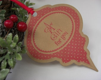 Red Bauble Christmas Tags (Set of 5) Vintage Appearance