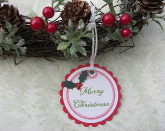 Traditional Merry Christmas Tags Set of 6 Holly and Berries