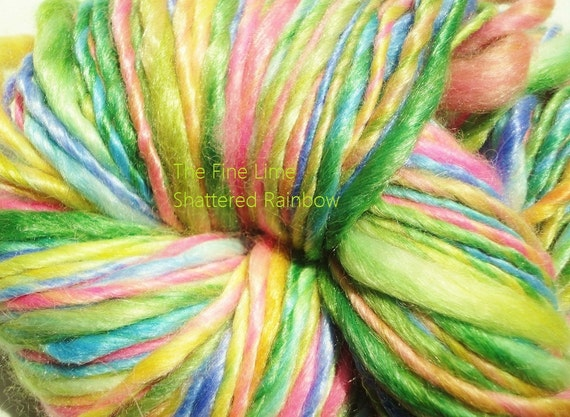 Merino Tencel Baby Alpaca Handspun Yarn - Shattered Rainbow - Silky Hand Dyed Worsted Weight Wool