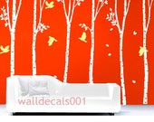 White Tree Wall Decal Wall Decor wall Sticker birch tree nature Room decor Birds decal kids decal decor Art set of 6 100in birch trees