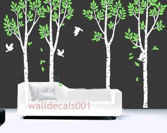 Vinyl Tree Wall Decals Wall stickersnature room decor wall decor wall art- Birds in Birch Forest