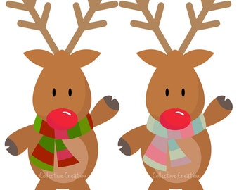 Rudolph the Red Nosed Reindeer Digital Clipart - Personal and Commercial Use - Clip Art for Cards, Scrapbooking and Paper Crafts
