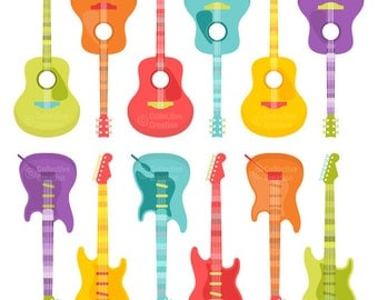 Guitar - Acoustic and Electric - Clip Art Clipart Set - Personal and Commercial Use