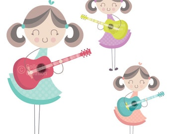Girl Playing the Guitar Clip Art Clipart Set - Personal and Commercial Use