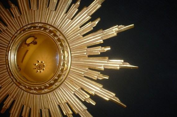 Rare grand miroir soleil 1960 39 s vintage bois dor miroir for Miroir soleil bois
