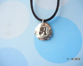 Fine Silver handcrafted Initial Drop Necklace. Initial Drop. Fine Silver 999 charm on chain or leather.