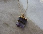 Gorgeous Semi-Precious Amethyst Slice Gemstone Gold Necklace - Handcrafted