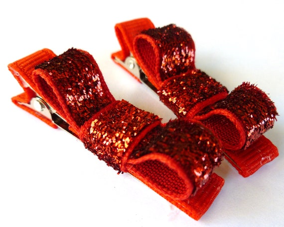 2 inch red sparkle hair bow clips--perfect for baby toddler big girl moms too- holiday sale