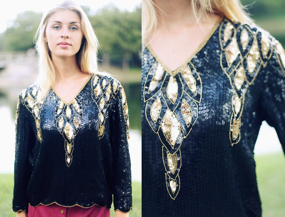 RESERVED  //// Vintage 1980s Black Gold Leaf All Over Sequin Blouse