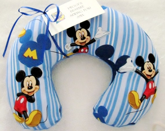 Travel Pillow - Head Neck Support - Toddler Infant Baby - Mickey Mouse Blue Stripe w/ Blue Minky Fleece - Blue Disney
