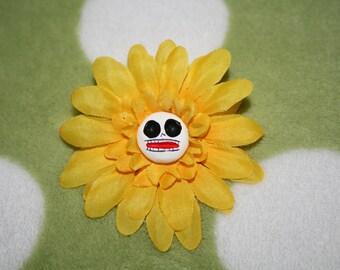 Yellow Cloth Flower Barrett Clay Skull