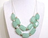 Chunky Seafoam Necklace - Double Strand Ice Blue Focal Beaded Jewelry in Sea Foam Blue & Silver