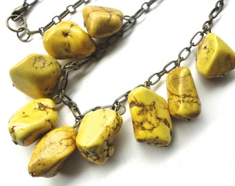 Yellow Stone Necklace on Antiqued Bronze Chain