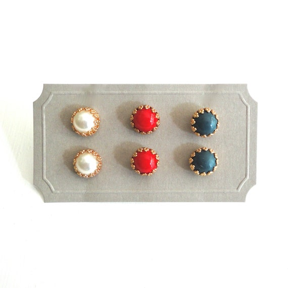 Red White Navy Stud Earrings - Set of Three Pairs
