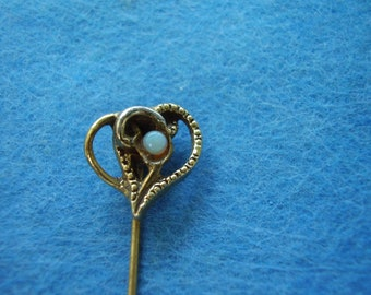 Old Yellow and White Gold and Australian Opal Stick Pin