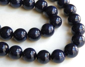 Riverstone beads in navy blue round gemstone 12mm full strand 4314GS