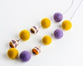 Autumn Long Necklace Mustard Yellow Lavender Felted Murano Glass OOAK
