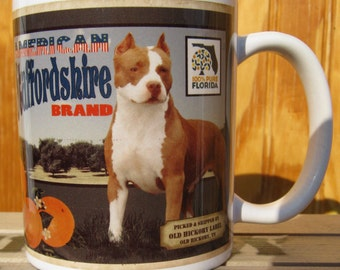 American Staffordshire Terrier Crate Label Coffee Mug