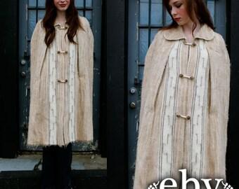 Vintage 60s LAMBSWOOL Hippie Boho Blanket CAPE Jacket Coat S M L Alpaca Cape Lambswool Cape Alpaca Coat Lambswool Coat Wool Cape Wool Coat