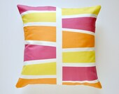 Magenta, Orange and Yellow Blocks 16x16in Removable Pillow Cover