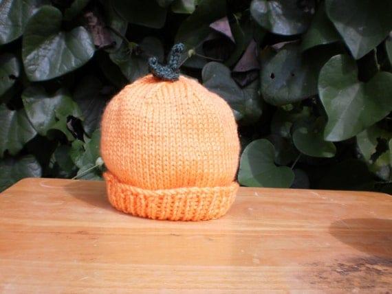Hand Knit Pumpkin Hat, Halloween Hat, Thanksgiving Hat, Autumn Hat, Photo Prop