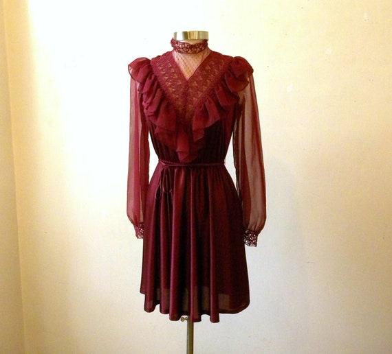 Vintage Victorian Style Dress / 80s Prairie Steampunk Burgundy Lace High Neck / Medium