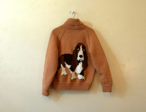 Mens Hipster Sweater / Cowichan Style Basset Hound Cardigan Wool / L
