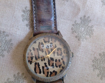 Guess Watch 1989, Leopad Face with Sweep Second Hand. Running,