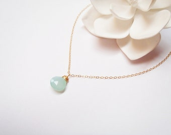 Chalcedony 14k Gold FIlled Chain Necklace, Minimalist