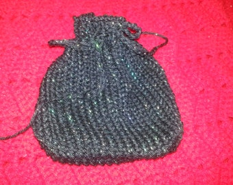 Black sparkly knit bag / sachet