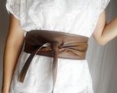 Brown vegan leather obi belt, faux leather belt, sash belt, brown obi belt, womens clothing, boho belt