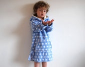 Blue spotted hooded towel toddler bath robe fluffy beach towel childrens hoodie organic cotton bamboo lining sky blue cloud unisex boy girl