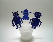 Super Cute Robot Cupcake Toppers