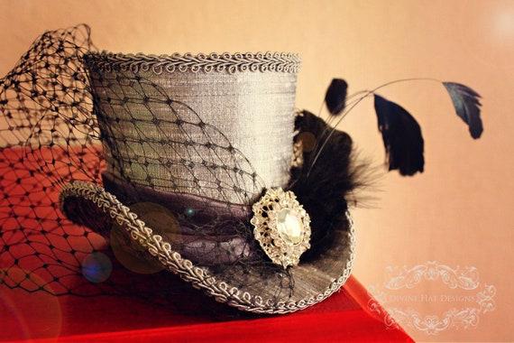 Dusky Purple Glam Mini Top Hat -- Wedding, Bridal Party -- Burlesque, Vintage, Goth -- Whimsical Wedding Hat