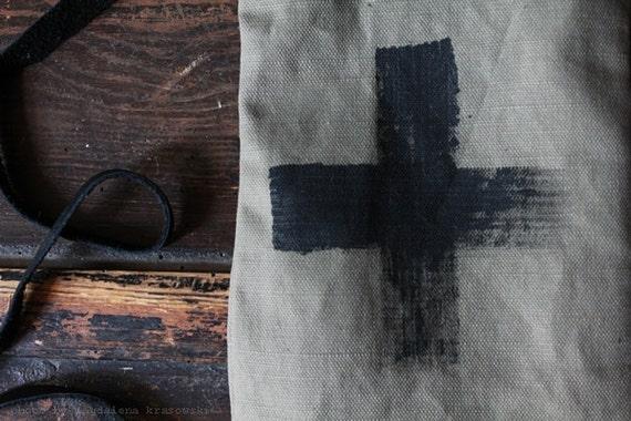cross bag / pouch handpainted