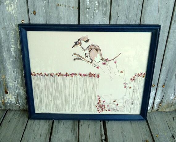 Kangaroo Framed Art Print Vintage Floral Eclectic Nursery Child Bedroom Decor Kotopoulis Them Those Blue Wood Wooden Frame