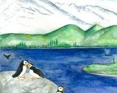 Alaskan Love / Puffin / whale / Watercolor Print