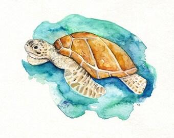 Sea Turtle/Watercolor print/teal/light green/aqua/tan/sea/ocean life/ Archival Print