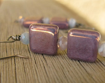 Summer gift purple square earrings, pink beads, light blue earrings, hostess gift