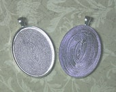 Five 30mm x 40mm oval pendant trays, pendant blanks, silver, cabochon settings