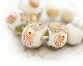 Beach lampwork beads set, Artisan Beige organics with shells, handmade - SRA - neutral
