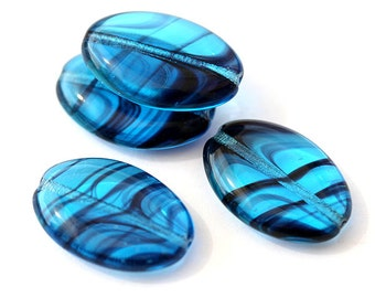 Aqua Blue Czech glass beads, Large oval flat beads with stripes - 20x14mm - 6Pc - 0181
